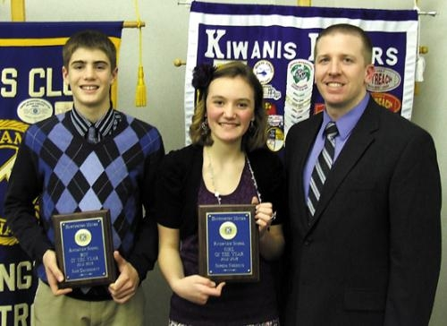 Sam Daugherty (left) and Sophia Smekens (center), students at Riverview Middle School, have been named Outstanding Eighth Graders by the Huntington Metro Kiwanis Club. With them is Mark Dubois (right), assistant principal at Riverview.