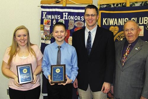 Tabitha Jaggers (left) and Tyler Gates (second from left) were recognized by the Huntington Metro Kiwanis Club as Outstanding Eighth Graders from Crestview Middle School.