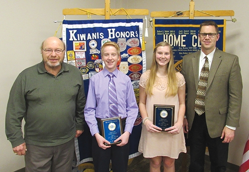 Crestview Middle School eighth-graders Elliot Bostel (second from left) and Katie Smith (third from left) were recently honored by the Metro Kiwanis Club of Huntington as outstanding eighth-graders. The pair was selected by the Crestview staff. Joining the pair are Metro Kiwanis President Terry Oden (left) and Crestview Principal Chuck Werth.