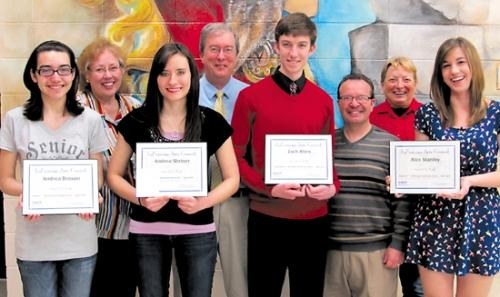 The LaFontaine Arts Council's Artists of the Month for April are (front row, from left) Andrea Broxon, Andrea Shriner, Zach Allen and Alexis Stanley. They were nominated by Huntington North High School teachers.