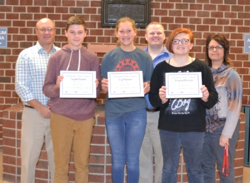 The LaFontaine Arts Council's artists of the month for November are (front, from left) Carson Kitchen, Eva Thomson and Brianna McIntyre, all students at Crestview Middle School. Nominating teachers are (back, from left) Doug McElhaney, Bryan Ringo and Liesl Haupert.