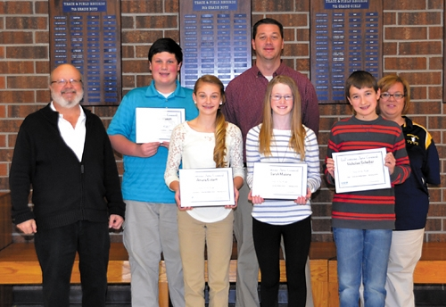 The LaFontaine Arts Council has named Riverview Middle School students  (front, from left) Amara Eckert, Sarah Malone and Nick Scheiber and (back, second from left) Connor Mason as its Artists of the Month for February.