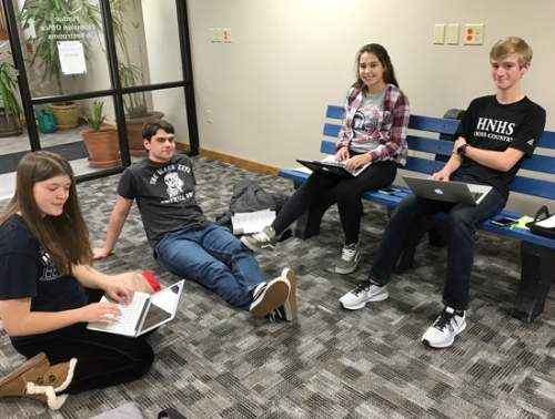 Huntington North High School Students (from left) Carrie Runyan, Cade MacAleese, Claire Ludlow and Isaiah Clampitt plan the upcoming Huntington Youth Leadership Class. The group will have a fund-raiser movie night and spaghetti dinner on Saturday, Feb. 3.