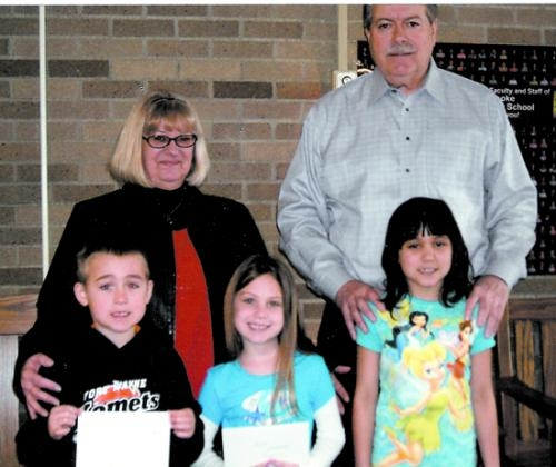 Winners of the Roanoke American Legion Auxiliary Unit 160's Americanism coloring contest are (front row from left) Austin Amick, Graci Shopoff and Allison Church.