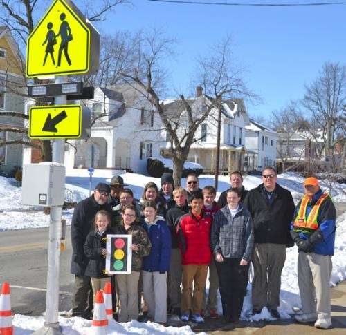 A pedestrian-controlled flashing light has been installed on North Jefferson Street in Huntignton in front of Huntington Catholic School.