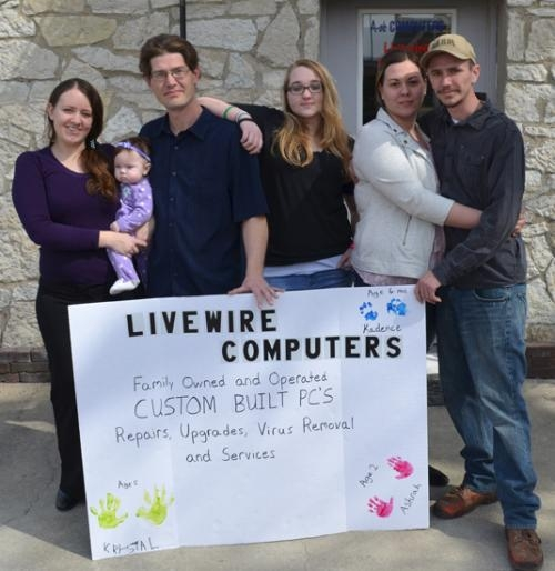 Livewire Computers, in Huntington, opened for business on Friday, March 15. Pictured are (from left) the Waldron family, Katelyn, Kadence and owner Joseph Waldron, Kelly Maginnis and Jordan and Rick Voght, who is a Microsoft-certified reseller.