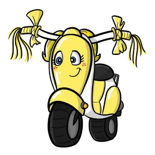 """The United Way of Huntington County is raffling off its 2012 campaign mascot, """"LU,"""" a yellow Honda Metroplitan scooter. This cartoon version was used in campaign literature throughout the campaign."""