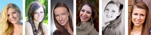 Miss Huntington candidates for 2014 are (from left) Rachel Batdorff, Sydney Enyeart, Alli Harris, Karlee Mawhorter, Haley Richman and Carrie Shank.