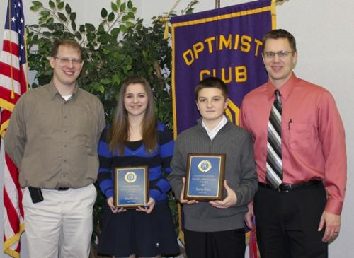 Erika Kennedy (second from left) and Patrick Miller (third from left), both students at Crestview Middle School, received Youth Appreciation Awards from the Huntington Optimist Club on Feb. 28.
