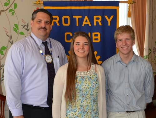 Emily Shafer (center) and Lukas Kaylor (right) are the Huntington Rotary Club's Junior Rotarians for March. With them is Rotary Club representative Chuck Grable (left).