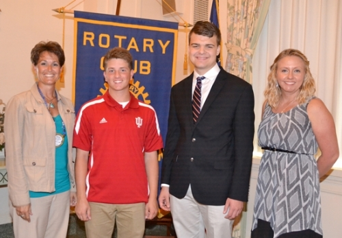 Logan Moreland (second from left) and Matthew Blomeke (third from left) are the Huntington Rotary Club's Junior Rotarians for March. With them are Rotary Club sponsors Nicole Johnson (left) and Dawn Harvey.