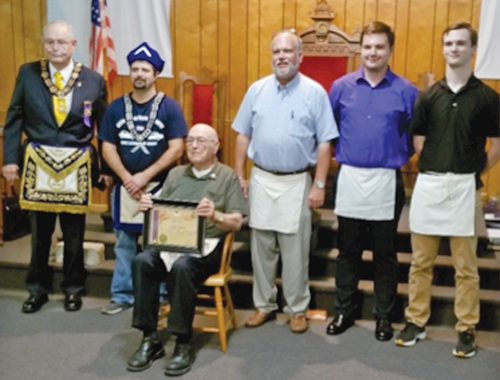 J. Don Killen (seated) is recognized for his 75th year in Freemasonry at the Mt. Etna Masonic Lodge. Celebrating the occasion with him are (standing from left) Past Grand Master of Masons James Barkdull, Mt. Etna Lodge Worshipful Master Jathan Jones, Paul Killen, Riley Killen and Andrew Killen.