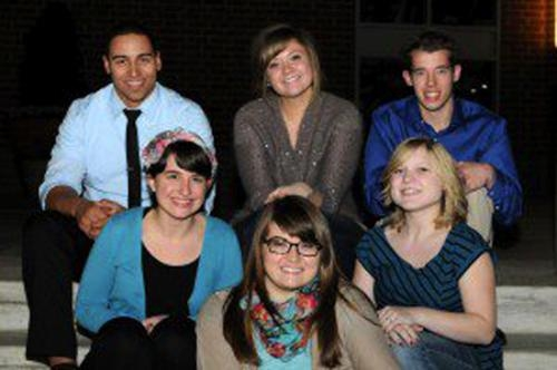 Modern Day Prophets, (front row from left) Mary Hall, Jenny Steele, Chelsea Risinger and (back row from left) Tyler Hamilton, Hannah Williams and Jacob Taylora, is a group of students from Olivet Nazarene University in Bourbonnaix, IL.