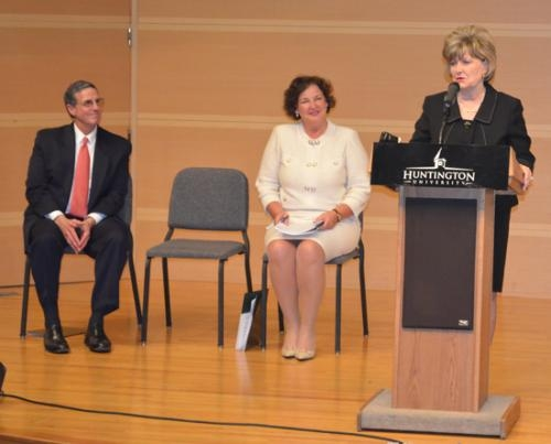 Dr. Sherilyn R. Emberton, incoming president at Huntington University, addresses members of the media on Friday, April 26, as retiring President G. Blair Dowden and Kelly Savage, chair of the Huntington University board of directors, look on.