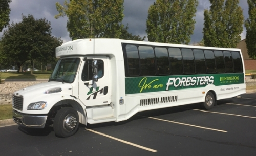 A 2011 35-passenger Turtle Top Odyssey Freightliner, gifted to Huntington University from Emmanuel Community Church, two board trustee members and other donors, will be used for a variety of excursions including sporting events, special events, field trips and mission trips.