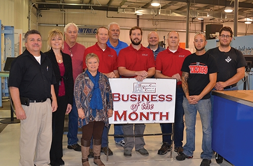 Intri-Cut Tool Co., of Roanoke, has been selected as Business of the Month for November by the Huntington County Chamber of Commerce Ambassadors. Celebrating the occasion are (front, from left) Terry Miller, JoDean Knowles and Staci Mathias, all Chamber Ambassadors; and J.B. Hoy, Cameron Hoy, Trent Lehman and Nolan Williams, all of Intri-Cut; and (back, from left) Scott Hammel, Roger Lauer, Vaughn Fuhrmann and Justin Whaley, all of Intri-Cut.