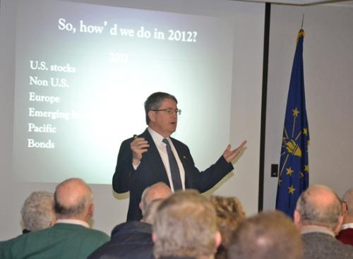 Jim O'Donnell, former financial services executive and Huntington University professor, discusses the state of the economy during a breakfast meeting of the Huntington University Foundation on Wednesday, Jan 9.