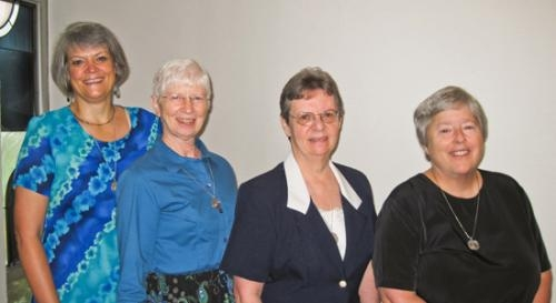 The new leadership team for Our Lady of Victory Missionary Sisters includes (from left) Sister Ginger Downey, general secretary; Sister Judith Turnock, vice president; Sister Beatrice Haines, president; and Sister Leora Linenkugel, general treasurer.