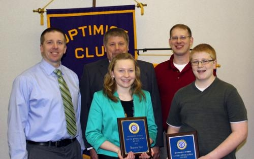 Earning Huntington Optimist Club Youth Appreciation awards for April are Riverview Middle School students (front row from left) Alexandra Short and Andrew Freck.