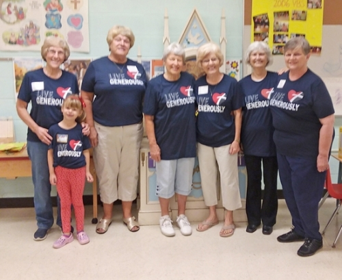 Those attending a recent PEP (Parents Encouraging Parents) group at St. Peter Evangelical Lutheran Church are (from left) Judy Turgeson, Noelle Lorenz, Susan Kellam, Marjorie Richardson, Linda Hollowell, Marcia Brown and Sandy Slusser. The group encourages parents of young children to socialize and network with others.