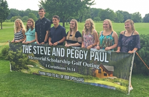 Eight students are recipients of the 2017 Steve and Peggy Paul Memorial Scholarships. Pictured (from left) are Savanna Scott, Alivia Eiting, Garret Heaston, Kole Hale, Lauren Sands, Miranda Smart, Jami Norwood and Sydni Fife. The students each received $500 toward their college education.