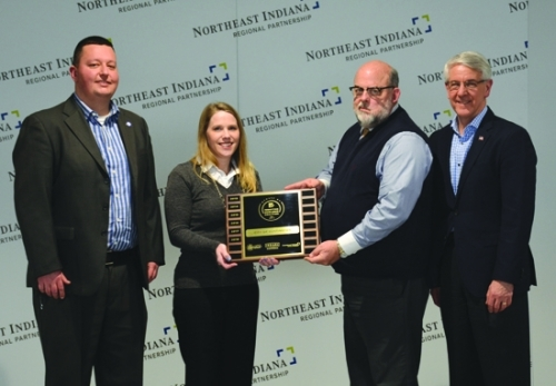 Celebrating the recent recognition by Northeast Indiana Regional Partnership of the City of Huntington's streamlined permitting process are (from left) Bryn Keplinger, director of Community Development and Redevelopment (CDR), City of Huntington; Miranda Snelling, office coordinator, CDR; Brooks Fetters, mayor, City of Huntington; and John Sampson, president/CEO, Northeast Indiana Regional Partnership. Not pictured is Shad Paul, building commissioner, CDR.