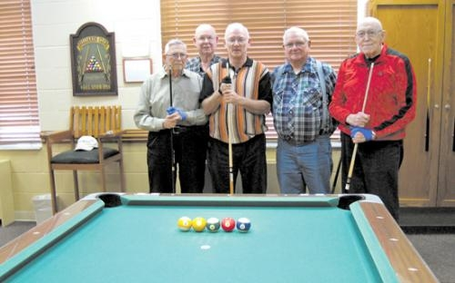 Clarence Myers, Jim Jones, Richard Hinton, Kay Mounsey and Ralph Taylor (from left) enjoy playing pool at Heritage Pointe, in Warren. On Jan. 14, Hinton sank five balls on the break shot, while Jones sank four balls on the break shot Jan. 24.