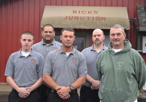 Jim Drabenstot(right), owner of Nick's Junction in Roanoke, will team up with the Roanoke Volunteer Fire Department for a benefit breakfast on Sunday, March 17.