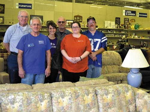 """Terry """"T"""" Sappington (front row, left) is the new manager of the Huntington County Habitat for Humanity ReStore."""