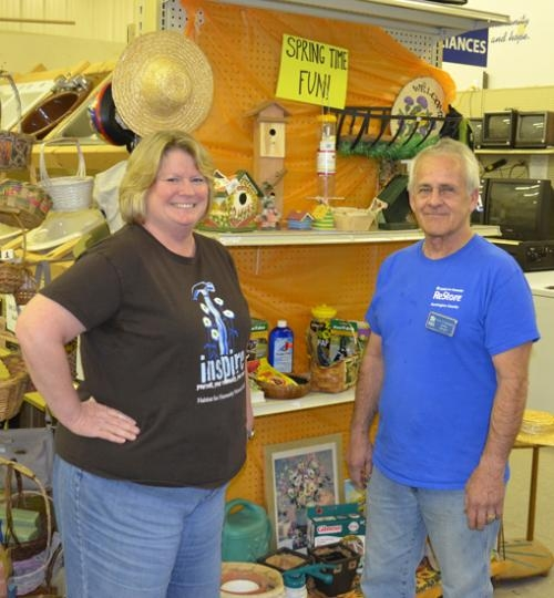 Executive Director of Huntington County Habitat for Humanity Jean Wright (left) and Terry Sappington, store manager at the Huntington ReStore, are gearing up for an Earth Day celebration on Saturday, April 20, from 9 a.m. to 4 p.m.