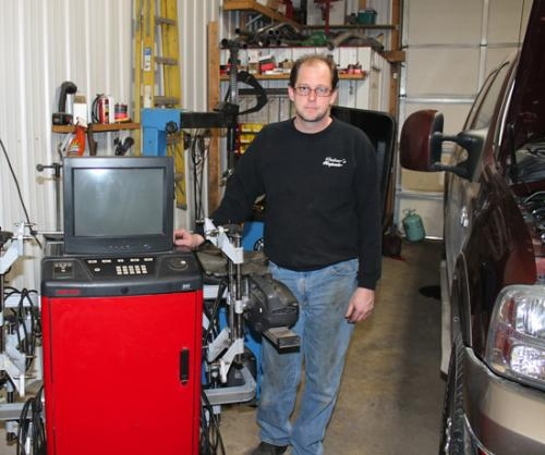 Cory Reber recently bought and renamed Ackley Automotive, located at 342 E. 1st St., in Warren. Reber added a new service to the Warren location, wheel alignment, using a wheel alignment machine like the one pictured here in his Huntington shop.