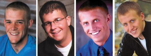 Pictued from left, Caleb Richison,  Jordan Sweet, Austin Shoemaker and Garrett Bracht