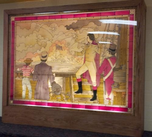"This glass mural of an artistic rendition of Francis Scott Key writing the ""Star Spangled Banner"" during the Battle of Fort McHenry in the War of 1812 once was on display in the State Capitol building in Ohio."