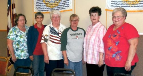 New officers of Roanoke American Legion Auxiliary Unit 160 are (from left) JoAnn Caulk, sergeant-at-arms; Sheryl Hart, chaplain/historian; Bev Swaim, vice president; Brenda Schulz-Hall, secretary; Linda Bueker, president; and Pam Worrel, treasurer.