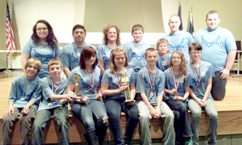 The Thunderbirds robotics team won the grand champion title at the regional Lego League competition on Nov. 21. Team members are (front, from left) Gage Crawford, Brock Brubaker, Camille Harris, Brianna Elston, Noah Zahn, Grace Driscoll and Darcy Williams; and (back, from left) Brooke Elston, Chris Elston, Lori Elston, Cole Davidson, Samuel Elliott, Travis Bolinger and Connor Nash.