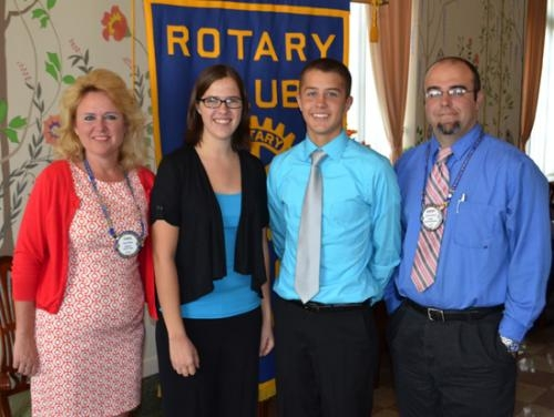 Junior Rotarians for February are Marissa Stephan (second from left) and Nathan Pike (third from left). With them are their Huntington Rotary Club sponsors, Carol White (left) and Jeremy Penrod (right).