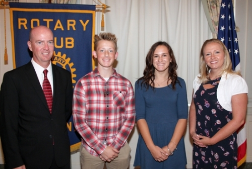 Huntington North High School students Conner Burkhart (second from left) and Alexi Holzinger (third from left) are the Huntington Rotary Club's Junior Rotarians for September. With them are Rotary Club sponsors Randy Sizemore (left) and Dawn Harvey.