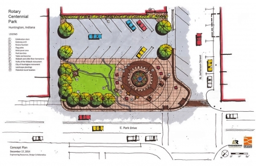 This sketch shows a bird's eye view of the new Rotary Centennial Park to be constructed at the corner of Jefferson Street and Park Drive, in downtown Huntington.