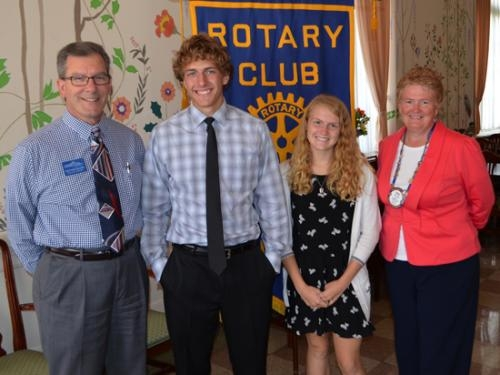 Danny Becker (second from left) and Maria Scott (third from left) are the Huntington Rotary Club's Junior Rotarians for September. With them are their Rotary Club sponsors, Michael Howell (left) and Rose Wall (right).