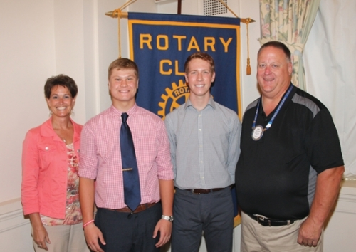 Huntington North High School students Cameron Foust (second from left) and Nathan Sizemore (third from left) are the Huntington Rotary Club's Junior Rotarians for September. With them are Rotary club sponsors Nicole Johnson (left) and Dan Blocker.