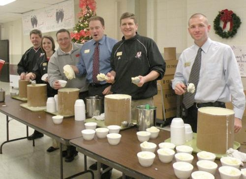 Huntington North administration poses during lunch at the high school in December as they served students ice cream for their improved graduation rate. The Indiana Department of Education publicly announced the 2009 graduation rate today, Friday, Jan. 8.