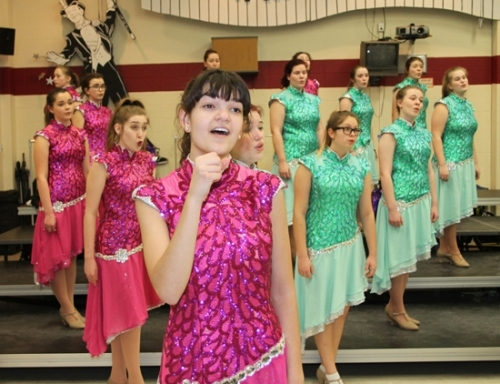 Huntington North High School sophomore Erica Ashley practices her solo during a rehearsal by the Viking Volume Wednesday, Feb. 7. The show choir will present a Princess & Superhero Academy for children on March 3.