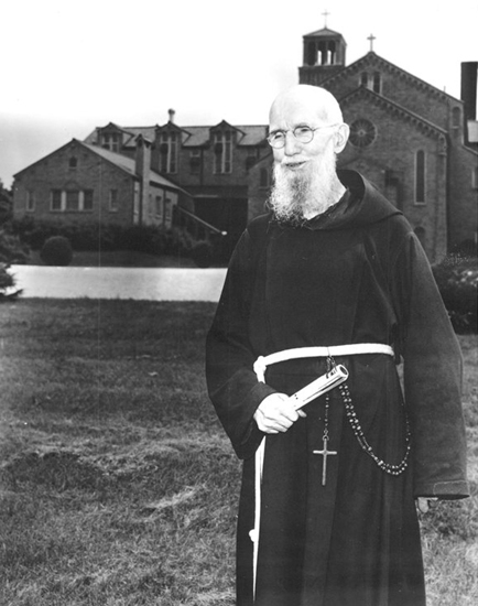 Rev. Solanus Casey is shown in front of the St. Felix Friary, in Huntington, his home for 10 years.