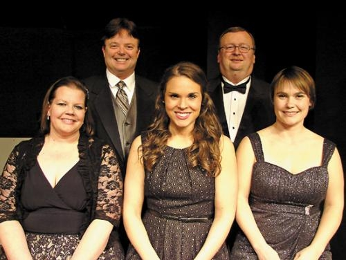 "The cast of ""Some Enchanted Evening"" includes (front row, from left) Debi Sackett, Brittany Davis and Mandy Shull; and (back row, from left) Barry Jamison and Ralph Tuttle."