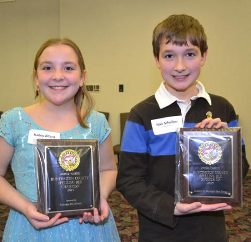 Hailey Alford (left), of Salamonie Elementary School, won the title of Huntington County spelling champion on Monday, Feb. 11. The runner-up is Nick Scheiber, of Andrews Elementary School.