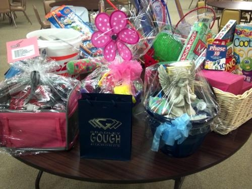 These baskets will be raffled off during a Ladies' Tea on April 27 at St. Peter's First Community Church.