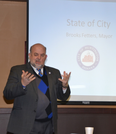 Huntington Mayor Brooks Fetters discusses the state of the city with members of the Huntington County Chamber of Commerce on Friday, Feb. 7.