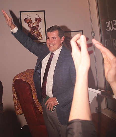 A beaming Richard Strick acknowledges supporters at his campaign headquarters in downtown Huntington in the wake of winning Huntington's mayoral race on Tuesday, Nov. 5. Strick, an independent, defeated Republican Larry Buzzard and independent Johnnie Hiles in the municipal election, capturing 49.73 percent of the vote.