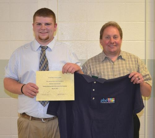 Brandon Satterthwaite (left), a graduating senior at Huntington North High School, will compete in the national SkillsUSA competition in Kansas City, MO, this summer, and the trip will be partially paid for by his employer, PHD.