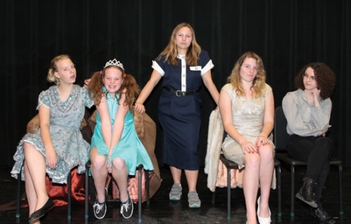 "One of the numerous groups planning to perform at this year's Huntington North High School Variety Show ""Star Search"" pose for their skit, titled ""Airplane Troubles."" Pictured are (from left) Skylar Symons, Alayna Smith, Katharina Dvorak, Megan Stinefield and Grace Bradford. The show is set for this Thursday, Friday and Saturday at 7 p.m. each night in the Huntington North Auditorium."